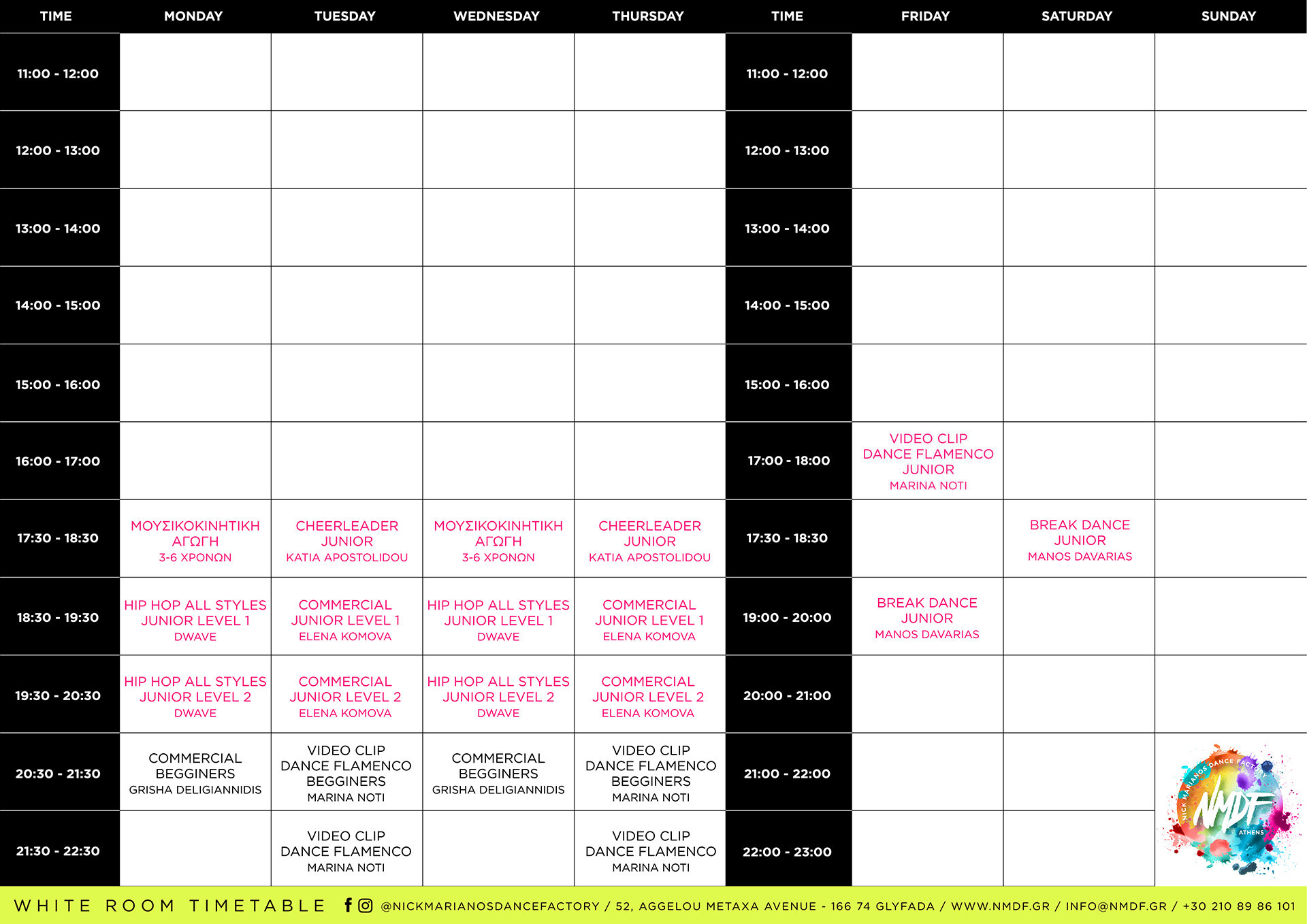 NMDF TIMETABLE